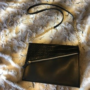 Sleek Black Clutch/Purse with Zipper Detail NWOT